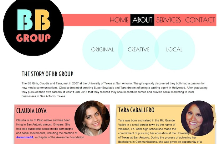 A screenshot of the BB Group website.