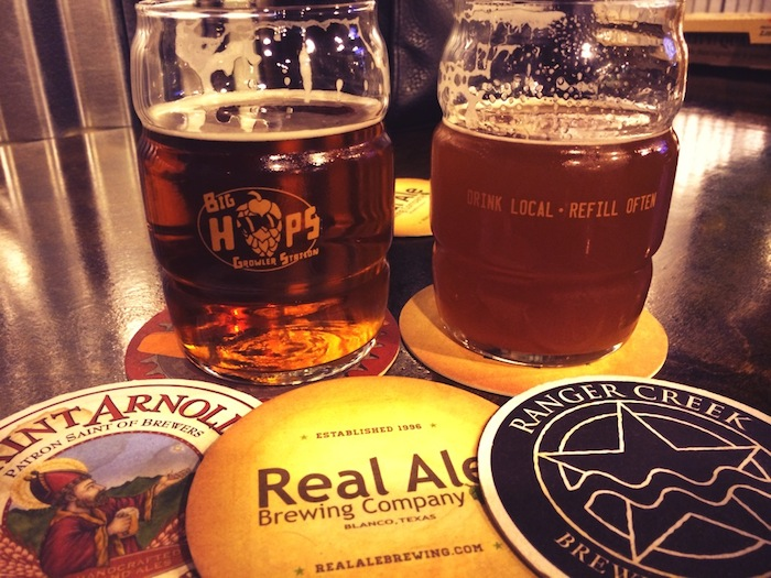 Craft brews abound at Big Hops Growler Station at 8313 Broadway. Photo by Chris Day.
