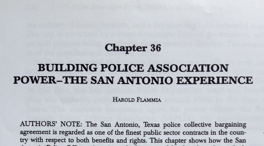"""Chapter 36 of """"Police Union Power, Politics, And Confrontation in the 21st Century"""" titled """"Building Police Association Power-The San Antonio Experience,"""" has been removed from the second edition of the book."""