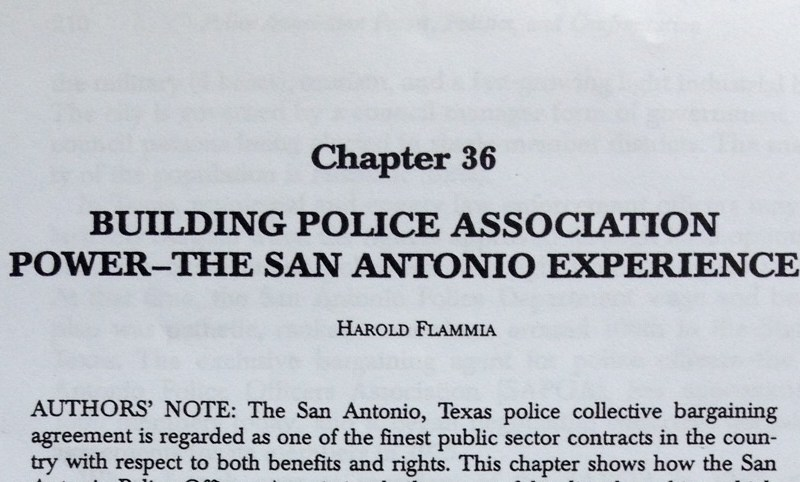 "Chapter 36 of ""Police Union Power, Politics, And Confrontation in the 21st Century"" titled ""Building Police Association Power-The San Antonio Experience,"" has been removed from the second edition of the book."