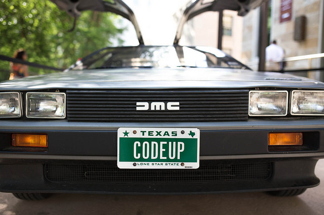 The Codeup DeLorean on display during the Codeup Demo Day April 22, 2014. Photo by Scott Ball.