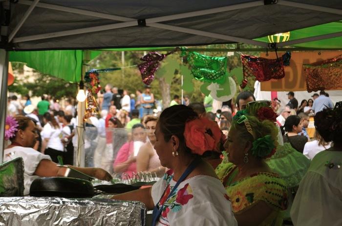 """Fiesta Fiesta"" 2014 revelers in Alamo Plaza for Fiesta San Antonio's opening ceremony on April 10. Photo by Iris Dimmick."