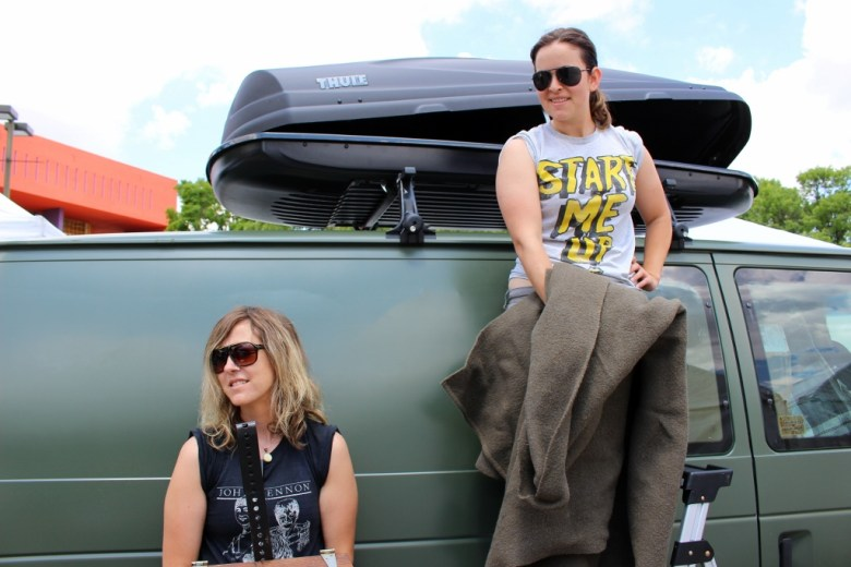 Natalea Wall and Kelly Murphy unloading their van. Photo by Page Graham.