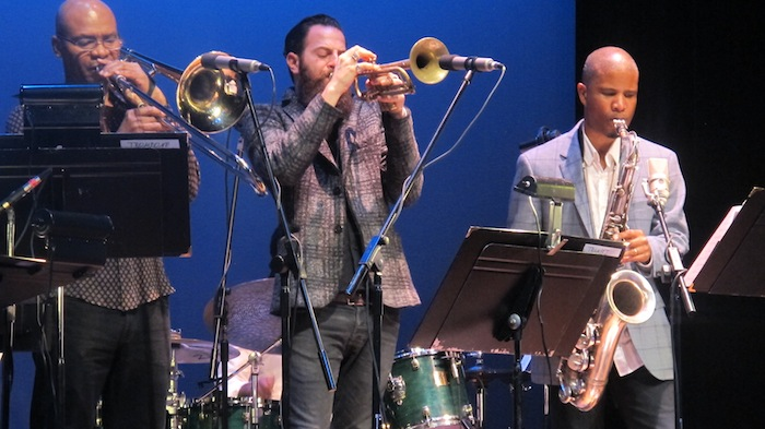 """(SF Jazz Collective members from left to right) Robin Eubanks, Avishai Cohen, and David Sánchez belt it out on Herbie Hancock's """"And What If I Don't."""" Photo by Adam Tutor."""