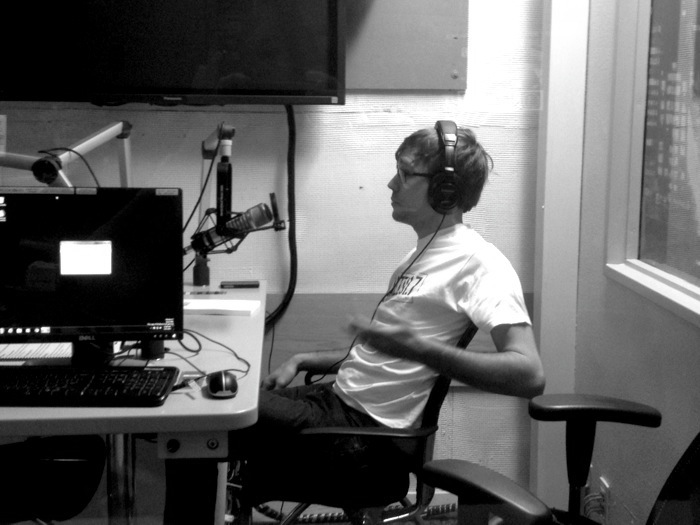 John Burnam of The Big Give SA (and frequent Rivard Report contributor) on air at KRTU. Photo courtesy of KRTU.