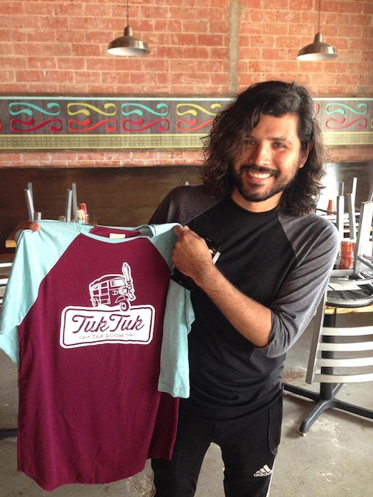 Mario Guajardo, owner of The Richter Co. with hist finished product for Tuk Tuk Tap Room. Courtesy photo.