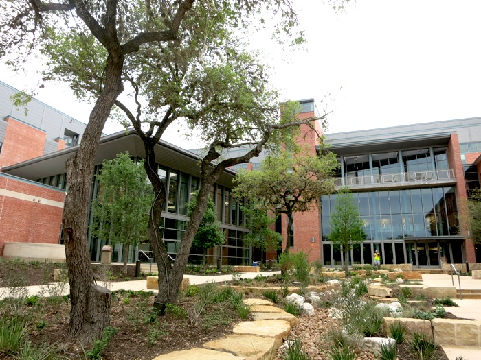 """The Trinity University Center for Sciences and Innovation and the """"Cube."""" Photo by Miriam Sitz."""