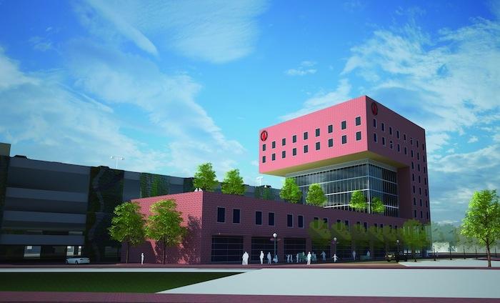 Rendering of the proposed medical school. Courtesy of Centro Partnership San Antonio.