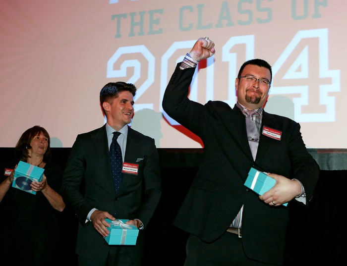Leadership Secondary category winner Bart Taylor of A&M Consolidated High School in College Station, Texas reacts to winning at the HEB Excellence in Education Awards at the Grand Sonesta Hotel in Houston, Texas Saturday May 3, 2014. Photo courtesy of H-E-B.