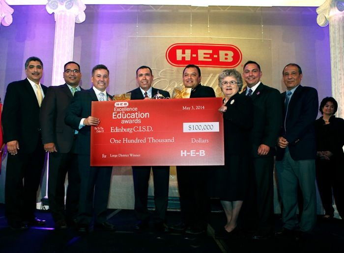 5/3/14 - Large District category winner Edinburg I.S.D. superintendent Rene Rodriguez, center, at the HEB Excellence in Education Awards at the Grand Sonesta Hotel in Houston, Texas Saturday May 3, 2014..