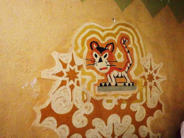 """The original 1929 artwork on the wall of the nursery, the """"cry room,"""" in the Majestic/Empire Theatre."""