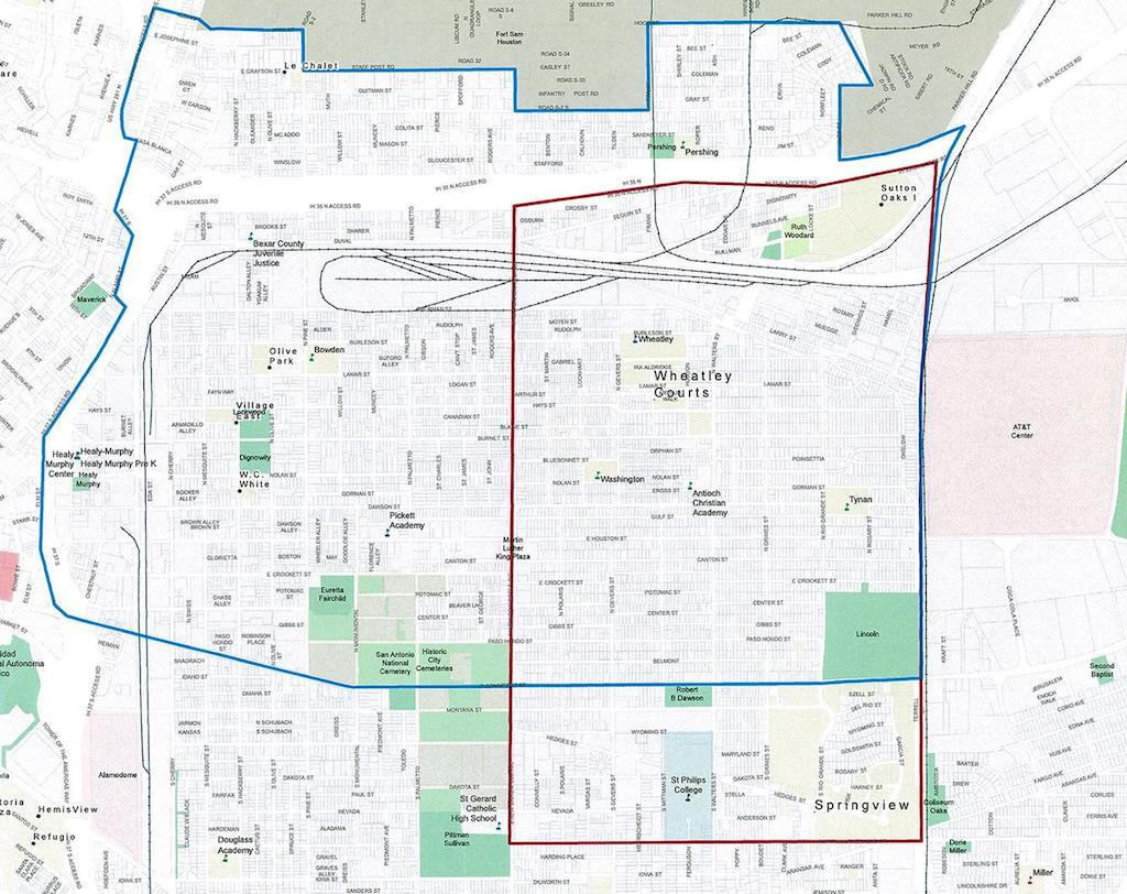Blue is the East Side Promise Neighborhood while Red is the Choice Neighborhood Revitalization project, where federal grant money can be used. Photo Credit: EastSide Promise Neighborhood