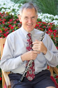 Mark Ackerman and his oboe. Photo by Michelle Kobell.