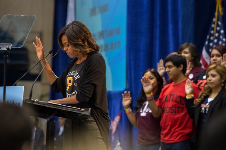 First lady Michelle Obama leads students in a vow to enhance the future of education during her visit to UTSA to talk about her college enrollment initiative during College Week 2014. Photo by Scott Ball.