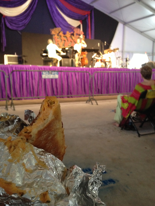 Crawfish bread accompanies jazz so perfectly, especially the Branford Marsalis Quartet (featuring San Antonio's own Eric Revis on bass) during the 2014 Jazz Fest in New Orleans. Photo by Adam Tutor.