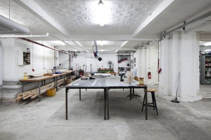 Inside the shared studio. courtesy of Künstlerhaus Bethanien