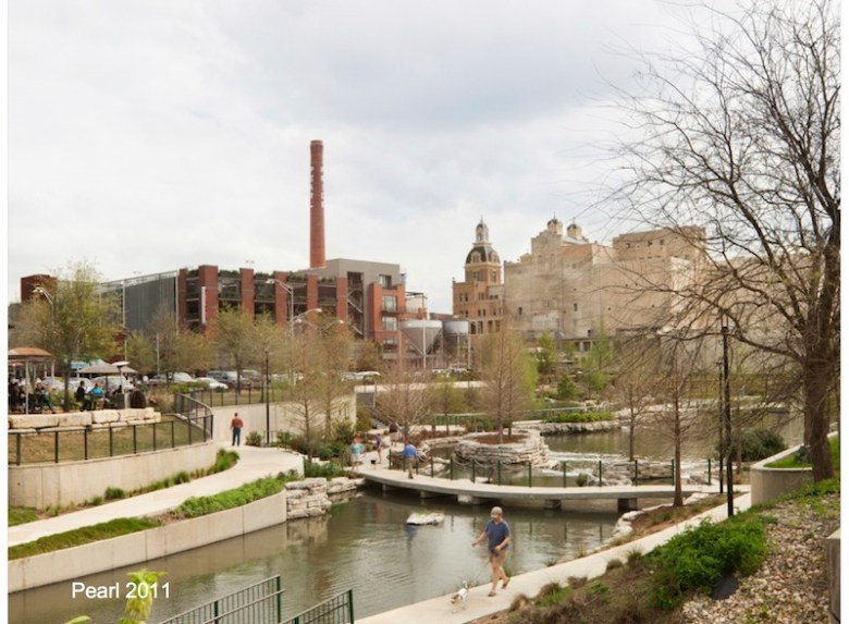 The Pearl Brewery over looks the Museum Reach in 2011. Photo courtesy of Pearl Brewery.