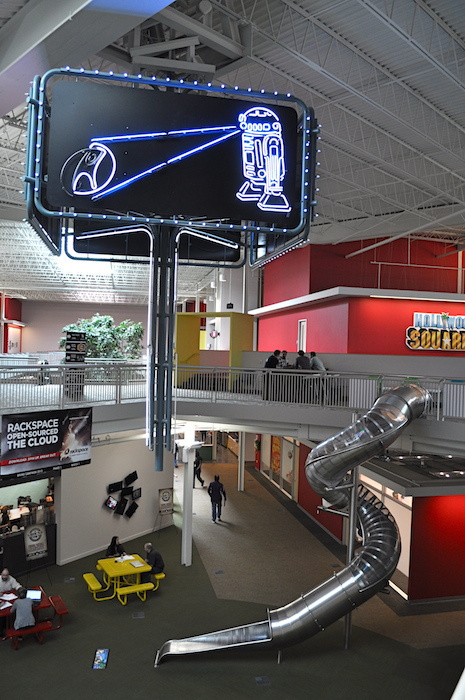 The famous Rackspace slide at The Castle, the hosting company's headquarters. Photo by Iris Dimmick.