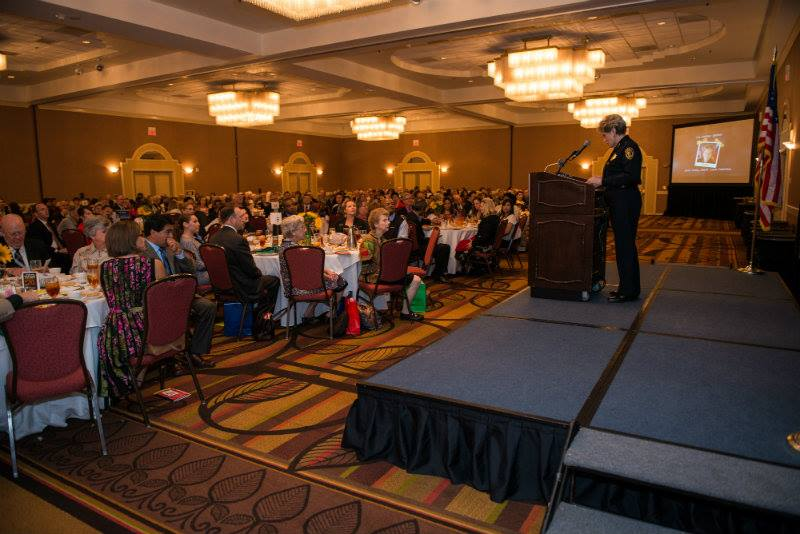 """Bexar County Sheriff Susan Pamerleau address the crowd at the annual Communities in Schools' """"Keeping Kids in School Luncheon."""" Courtesy photo."""