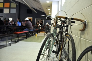 Bikes of stakeholders line the walls and hallways during the South Flores Improvement Project update meeting on May 19, 2014. Photo by Iris Dimmick.