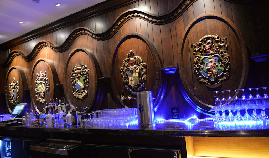 The Bar at the St. Anthony Hotel has been moved to the center of the first floor off Peacock Alley. These herald-faced cask fronts were hidden behind a wall for several decades. Photo by Annette Crawford.