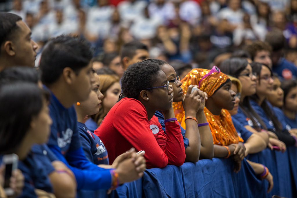 High school students look on as the first lady Michelle Obama visits UTSA to talk about her college enrollment initiative during College Week. Photo by Scott Ball.