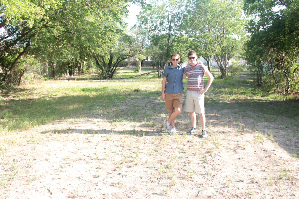 Will Maney and Michael Weil pose for a photo in their empty lot in Dignowity Hill. Courtesy photo.