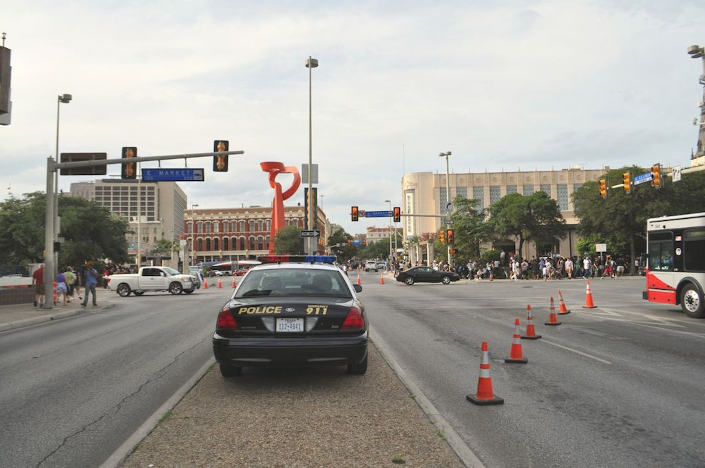 Much of South Alamo Street was closed off for the 2014 Spurs Championship River Parade on June 30, 2014. Photo by Iris Dimmick.