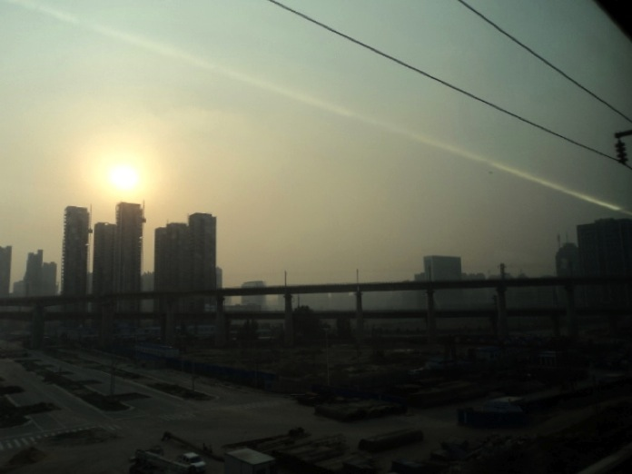Shijiazhuang cloaked in smog. Though cities like Shijiazhuang have taken steps to address their air pollution, it remains a major problem in China. Photo courtesy Salma Mendez and Zack Dunn.