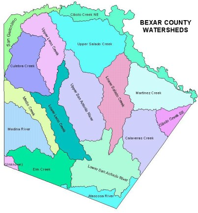 Bexar County watersheds. Image courtesy of SAWS.