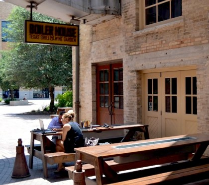 Patrons enjoy drinks and wifi at the Boiler House at the Pearl. Photo by David Garza.