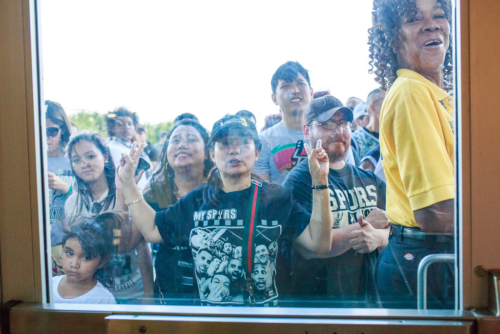 Some fans were not allowed to enter the Spurs celebration at the Alamodome. Capacity was reached an hour before ceremonies began for the Spurs 2014 NBA Finals victory. Photo by Scott Ball.