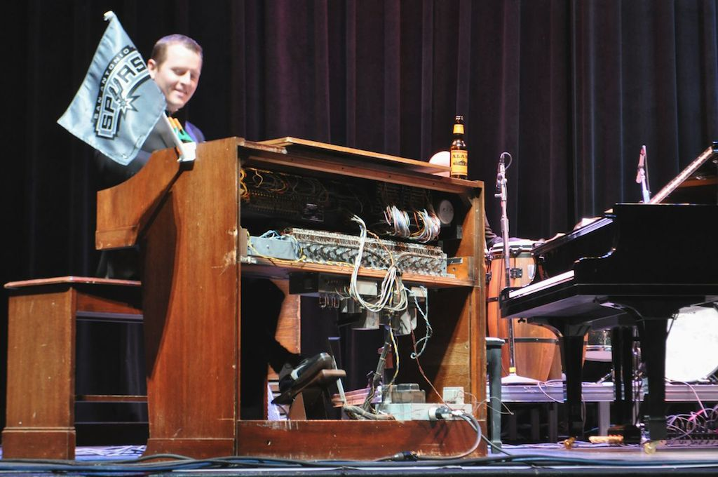 Doc Watkins plays his antique organ with his Big Band on stage at The Empire Theatre. June 10, 2014. Photo by Iris Dimmick.