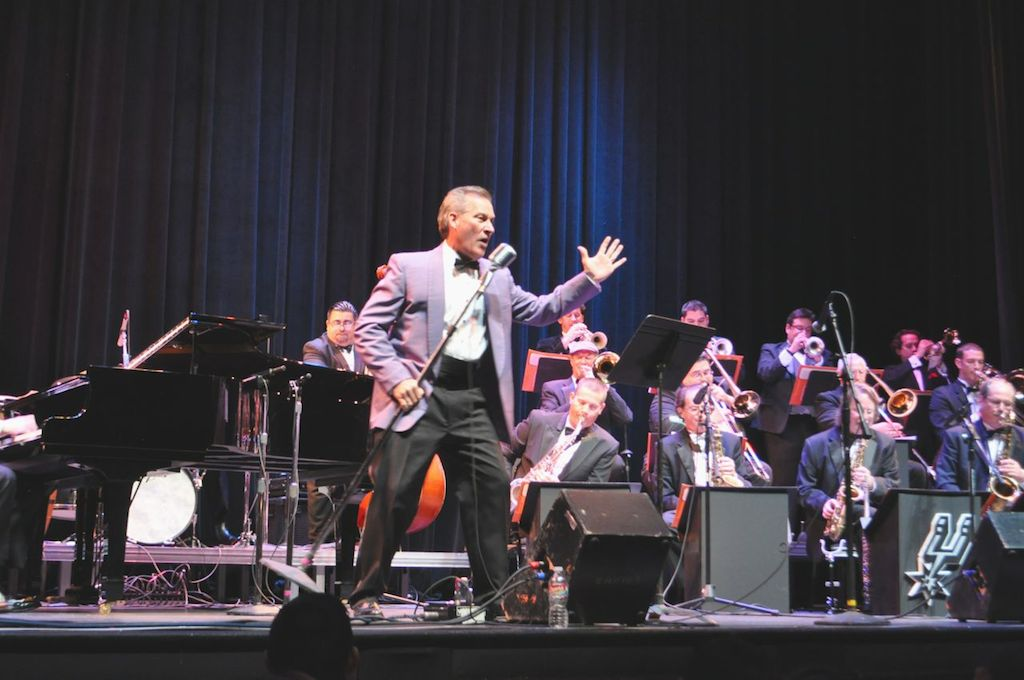 Rick Cavender croons with Doc Watkins and his Big Band on stage at The Empire Theatre. June 10, 2014. Photo by Iris Dimmick.