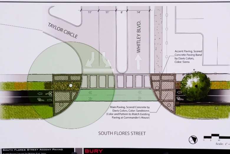 A construction plan shows pedestrian and bike crossings between Commander's House property and the new H-E-B campus. Courtesy image.