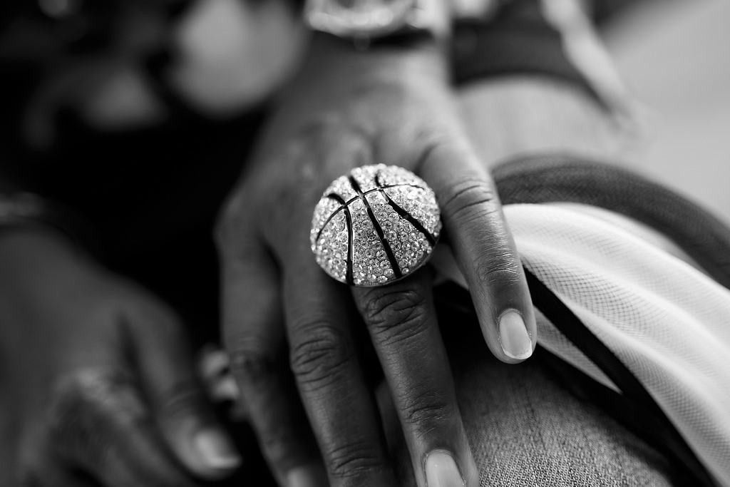 Earline Miller's diamond basketball ring during Game 2 of the NBA Finals June 8, 2014. Photo by Scott Ball.