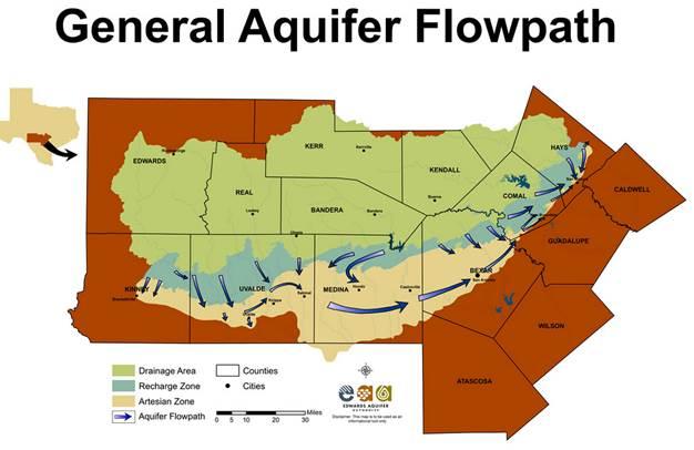 Edwards Aquifer Flowpath. Map courtesy of the Edwards Aquifer Authority.
