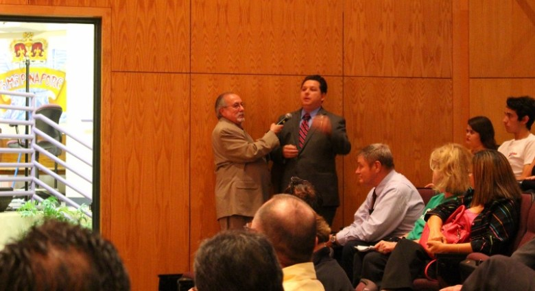 Weston Martinez makes a few points as he takes his turn asking a question. Photo by Page Graham.