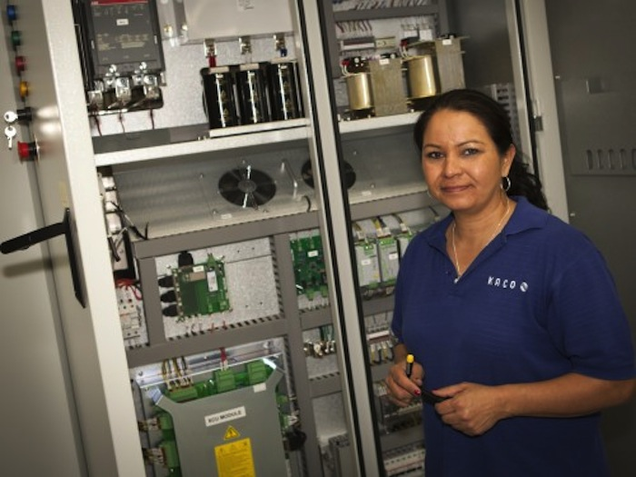 Irene Gamez was trained to do every job on the assembly line at KACO new energy. Courtesy photo.