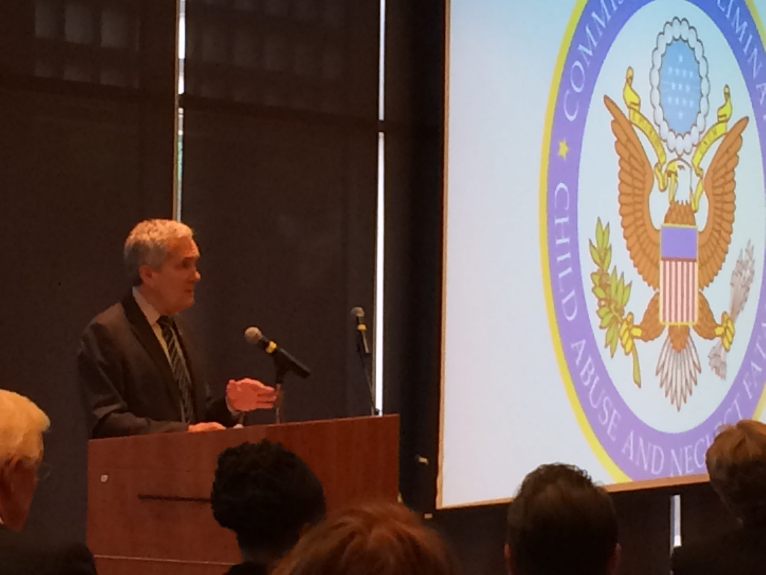 Rep. Lloyd Doggett addresses the Commission to Eliminate Child Abuse and Neglect Fatalities. Photo by Bekah McNeel.