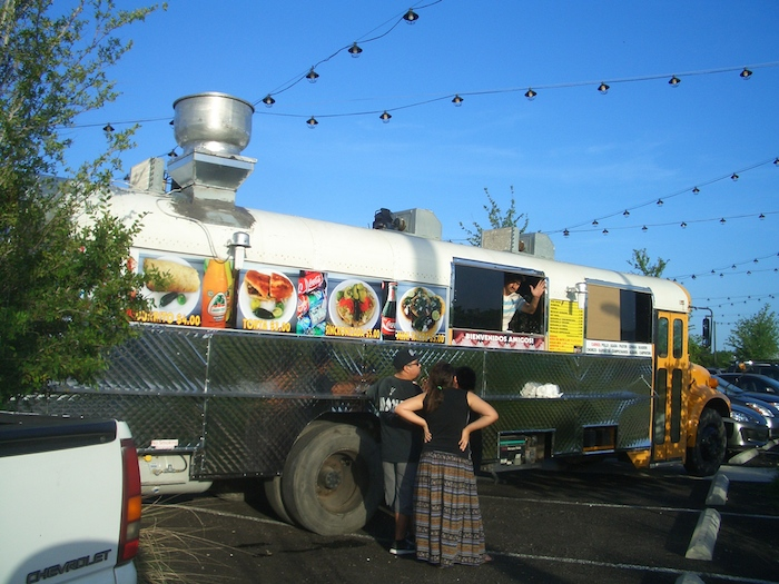 Mini Tacos Toribio food truck and customers at the Mission Marquee Plaza grand opening June 7, 2014. Photo by Lily Casura.