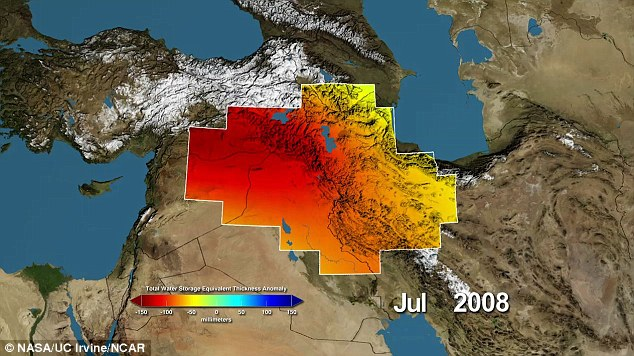 This Nasa image shows variations in water storage from normal, with drier conditions in red and wetter conditions in blue. Image courtesy of NASA.