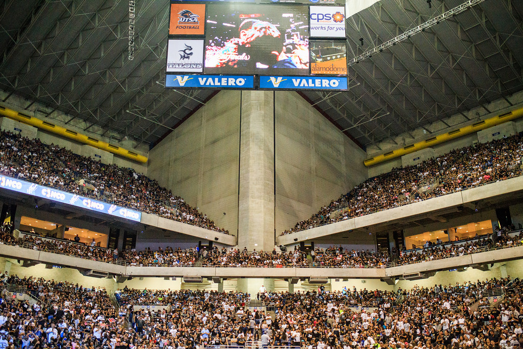 The stadium was at capacity during the Spurs celebration at the Alamodome of their 2014 NBA Finals victory. Photo by Scott Ball.