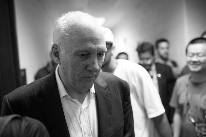 Coach Gregg Popovich just moments after the Spurs' win of the 2014 NBA Finals. Photo by Scott Ball.