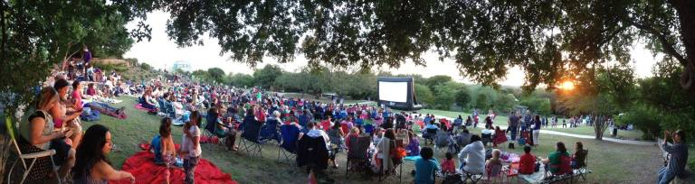 A recent Friday night at the San Antonio Botanical Garden with Slab Cinema.