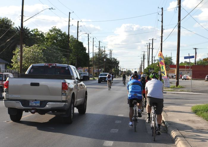 """Some cyclists stayed in the bike lanes while others chose to intentionally block traffic during the South Flores Street lane removal protest, """"Every Lane is a Bike Lane."""" June 4, 2014. Photo by Iris Dimmick."""