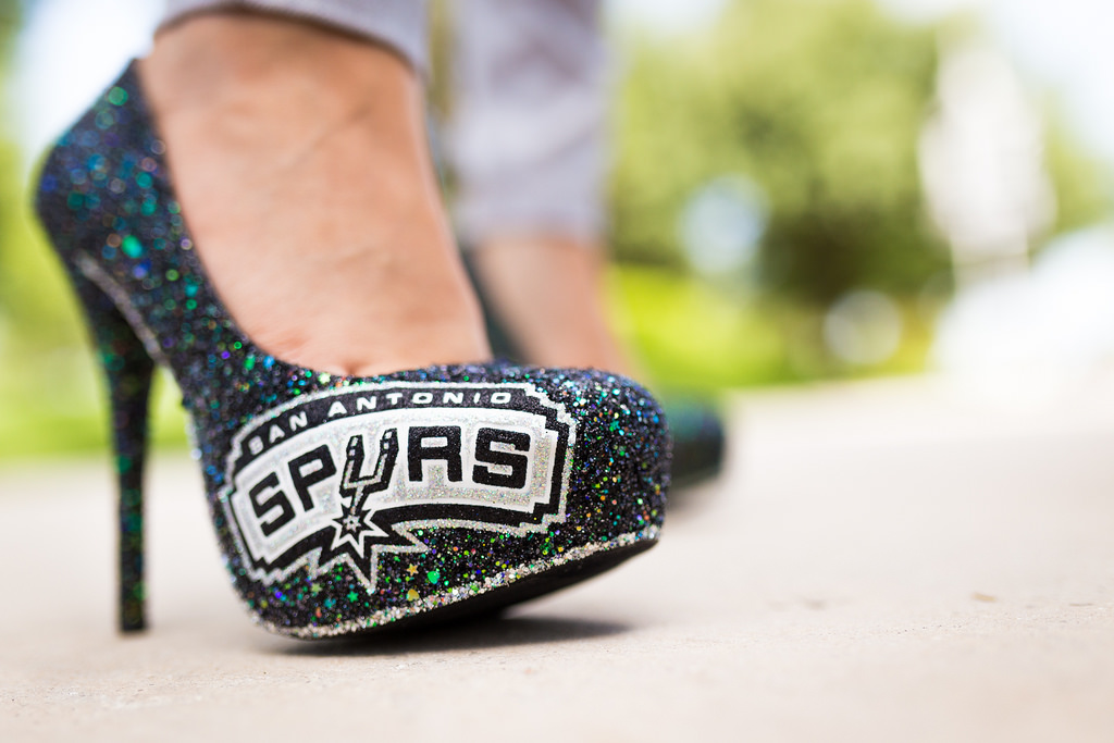 Janet Hollywoods shows off her Spurs high heels during Game 2 of the NBA Finals June 8, 2014. Photo by Scott Ball.