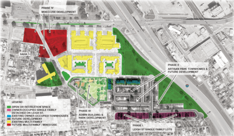 Victoria Courts, when completely redeveloped with include housing as well as a new park in the area marked red, which may include a 10,000 square foot cultural arts center. Photo courtesy SAHA.