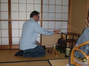 Winslow Swart performs a tea ceremony with Fukushima sensei. Author photo.