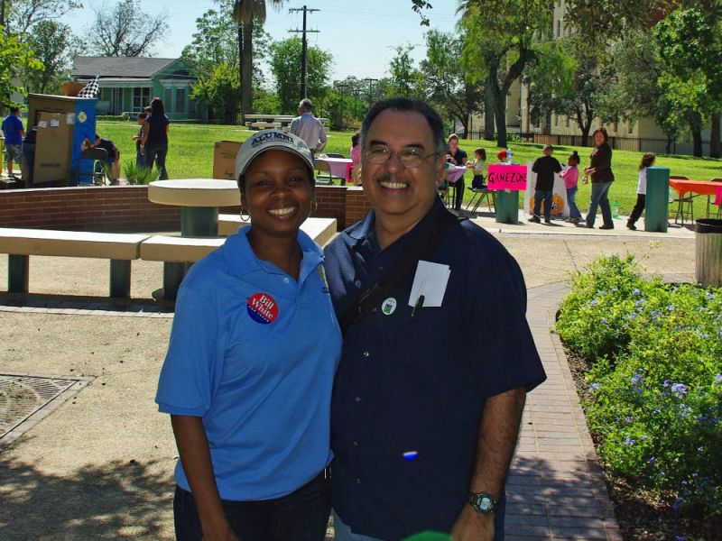 Ivy Taylor and Juan Garcia at a community fair in Dignowity Park in October 2010. Courtesy photo.